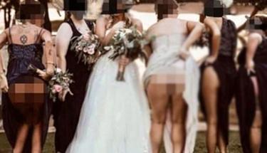 Şaşkına çeviren kare! Düğünde kameraya kalçalarını açıp...