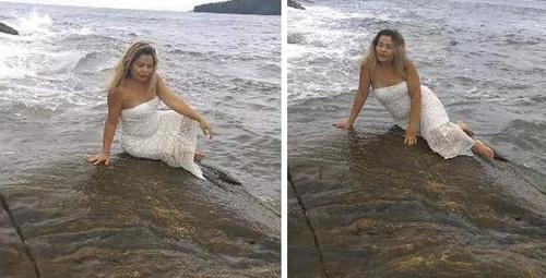 Sahilde poz veren kadının başına gelen!