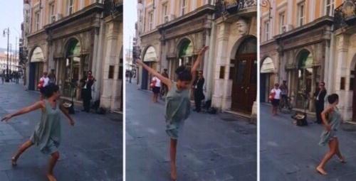 Filistinli kızın İtalya sokaklarındaki muhteşem dansı!
