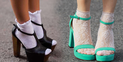 2018'in çılgın trendi topuklu ayakkabı ve çorap kombini!