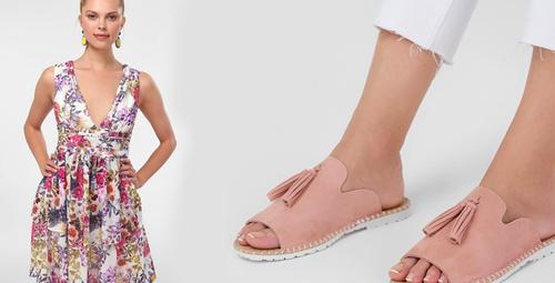 Yazın vazgeçilmez ikilisi: Elbise ve terlik kombini!
