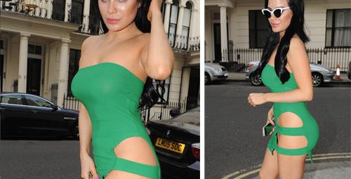 Playboy kızı bu elbisenin altına bir de iç çamaşır giymeyince...