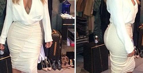 Kardashian'ın poposu sonunda elbise patlattı!