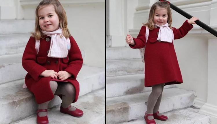 Prenses Charlotte okullu oldu giydiği kırmızı kabanın fiyatı ve markası ne?
